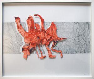 Unbekannte Lebensform, 2018, Bleistift/Tempera auf Papier im Objektrahmen, 52 x 62 cm